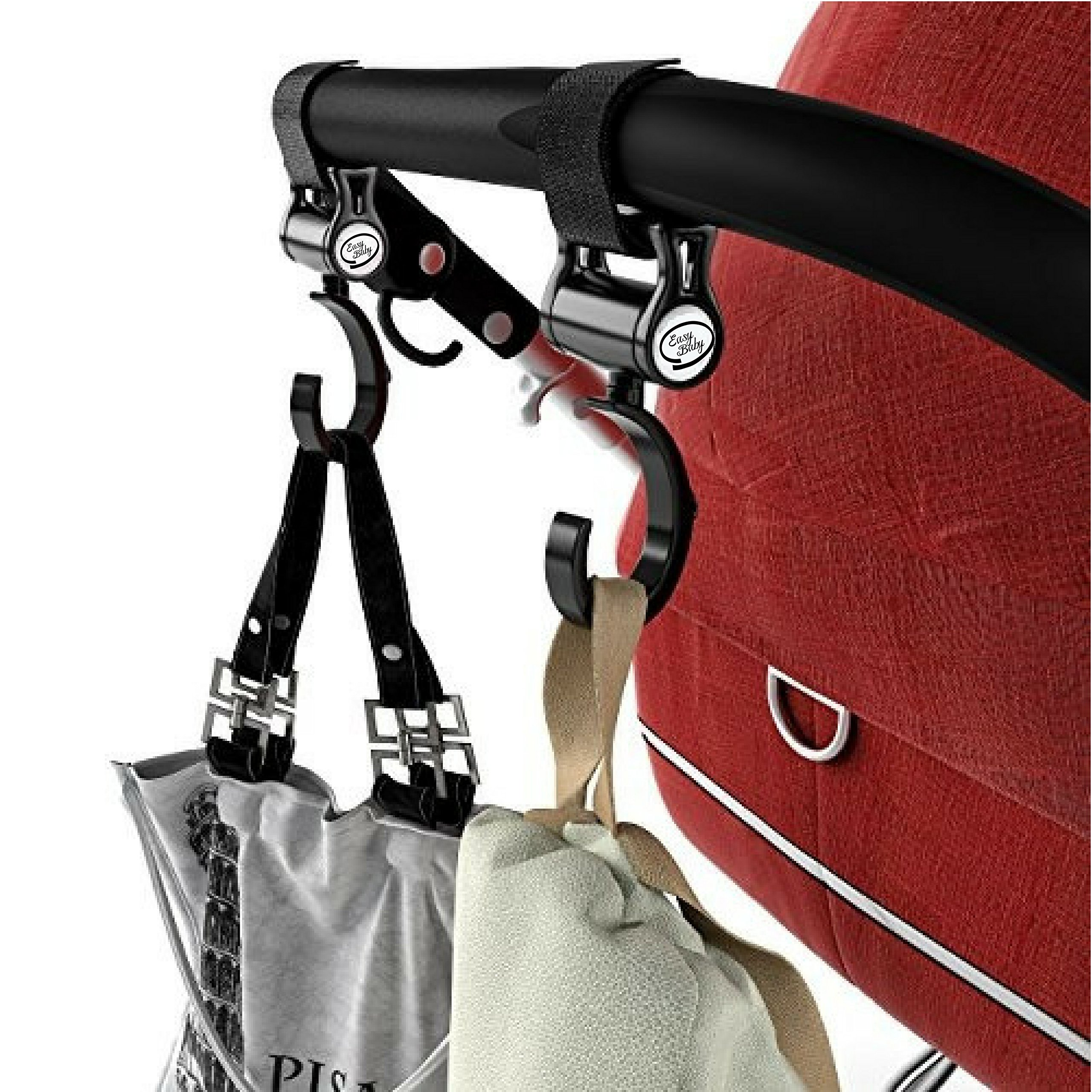Stroller Hook - 2 Pack of Multi Purpose Hooks - Hanger for Baby Diaper Bags, Groceries, Clothing, Purse - Great Accessory for Mommy when Jogging, Walking or Shopping by Easy Baby (Image #4)
