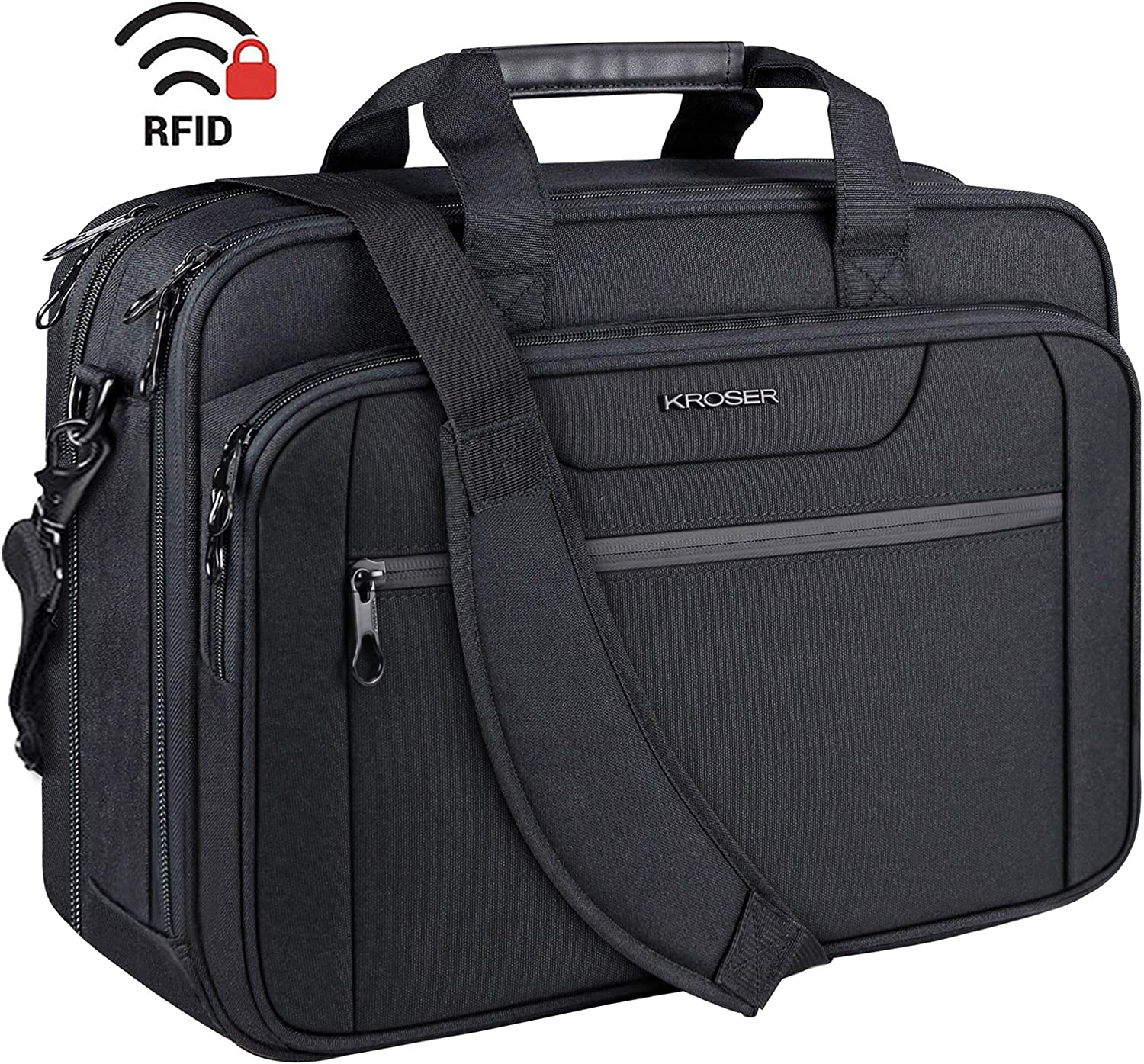 "KROSER 18"" Laptop Bag Expandable Laptop Briefcase Fits Up to 17.3 Inch Laptop Water-Repellent Shoulder Messenger Bag Computer Bag for Travel/Business/School/Men/Women-Black"