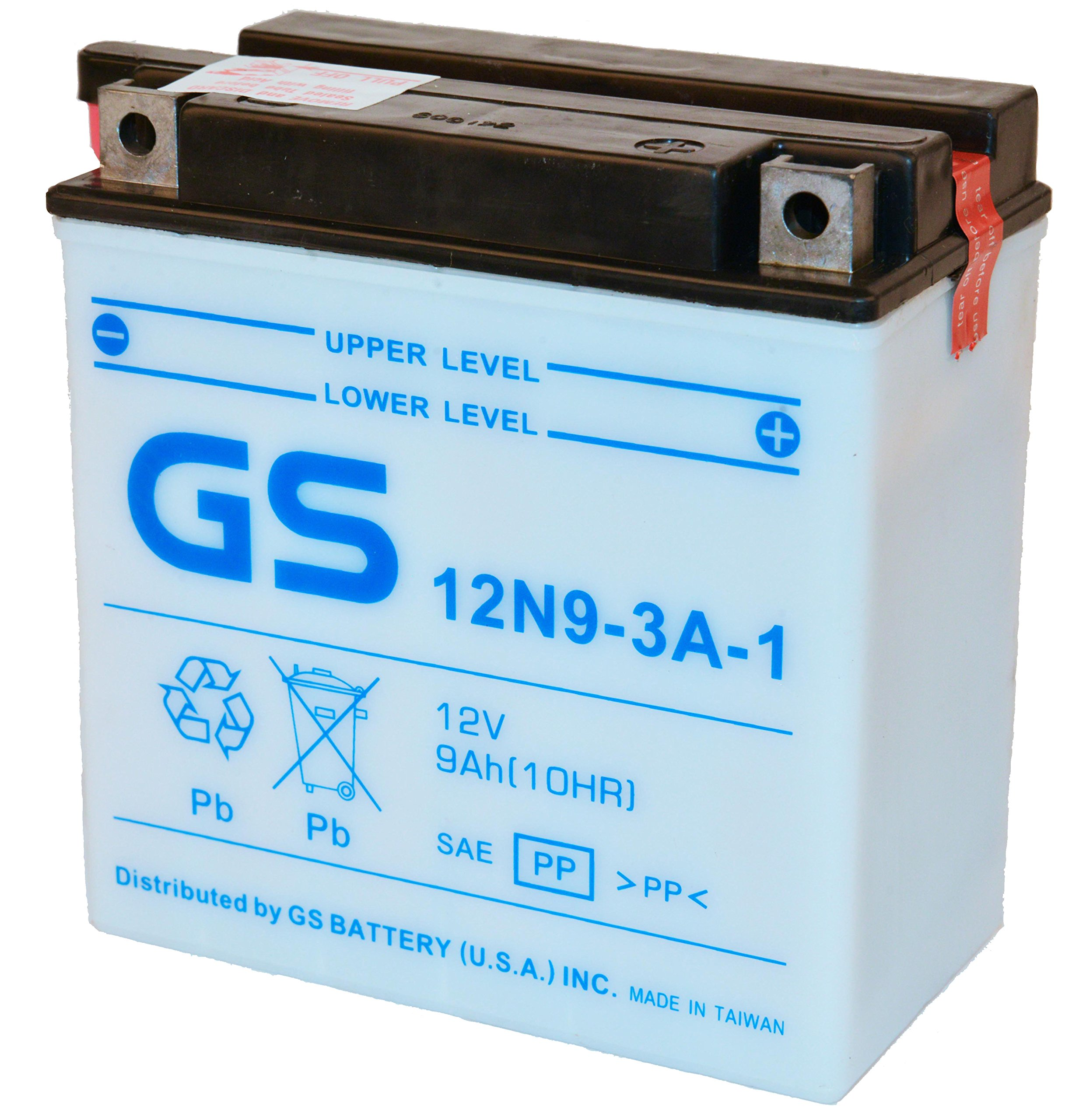 12N9-3A w/Acid Pack from GS Battery, a subsidiary of GS YUASA; The World's Leading Manufacturer of Powersports Batteries
