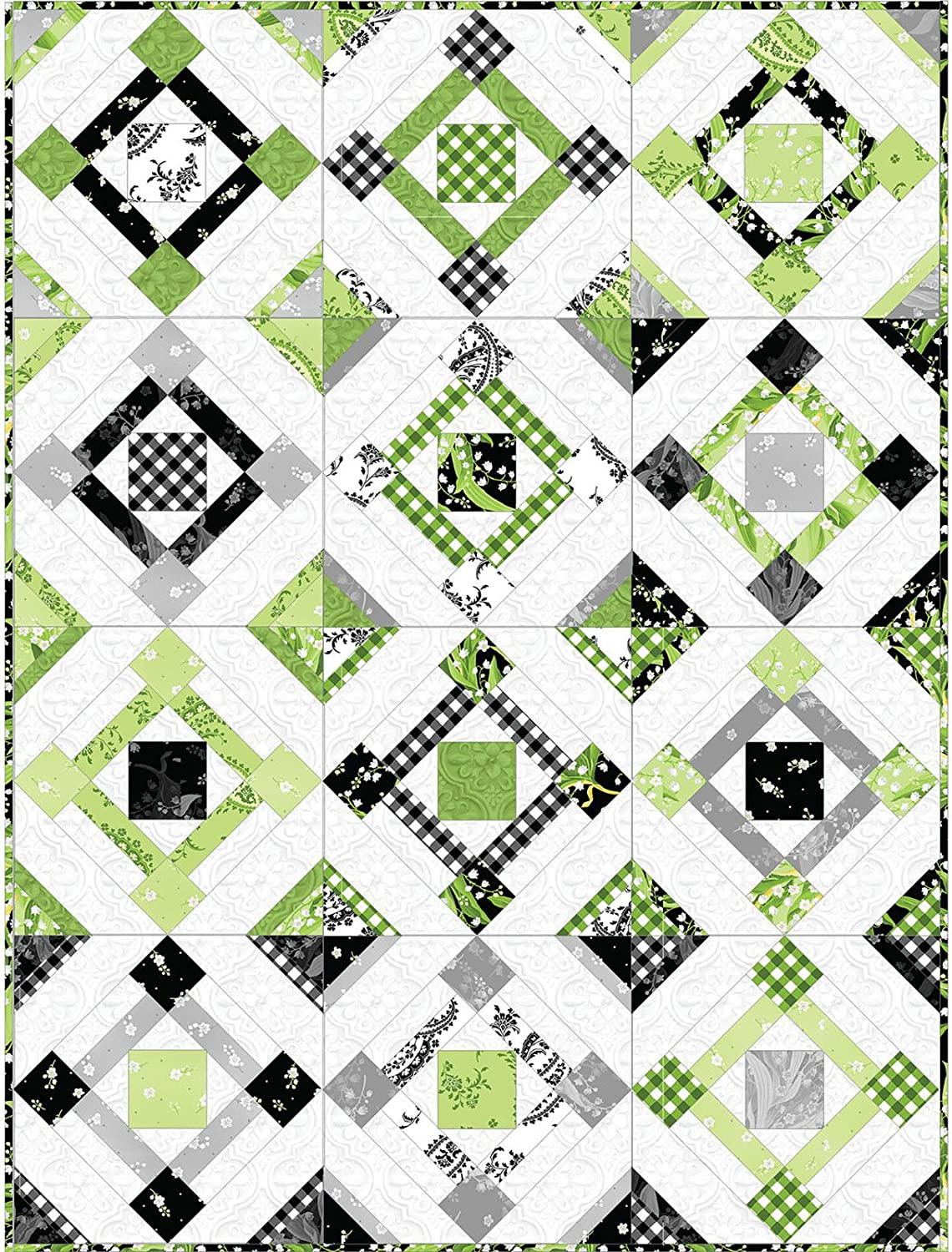 Fair /& Square Quilt Kit Greenery Fabric by Maywood Studio