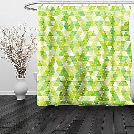 HAIXIA Shower Curtain Lime Green Triangles Geometry Figures Modern ...
