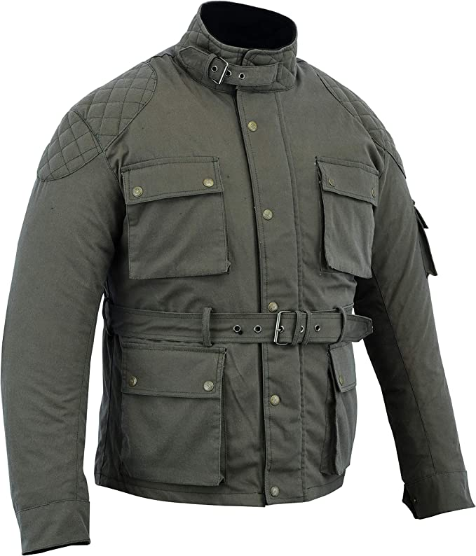 Modernage - Chaqueta de motorista de algodón encerado para hombre, color verde militar: Amazon.es: Coche y moto