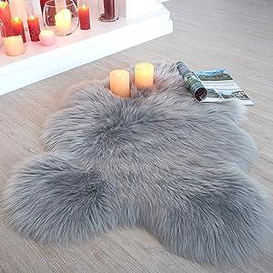 Faux Fur Area Rug - 2x3ft - Pretty Soft Fluffy Fuzzy Shaggy Grey Sheepskin Throw to Use on Sofa Couch Chair Cover or Bedside, Nursery, Office + Closet & Bathroom Floor (Luxurious Accent Decor)