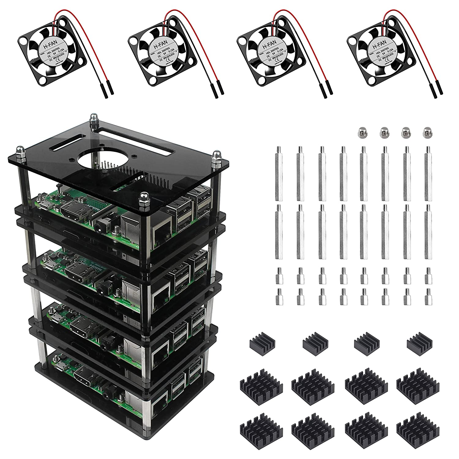 Case 4 Layers Stackable Grey Acrylic Raspberry Pi Case with Fan and Heatsink Jun/_Electronic For Raspberry Pi 3 B