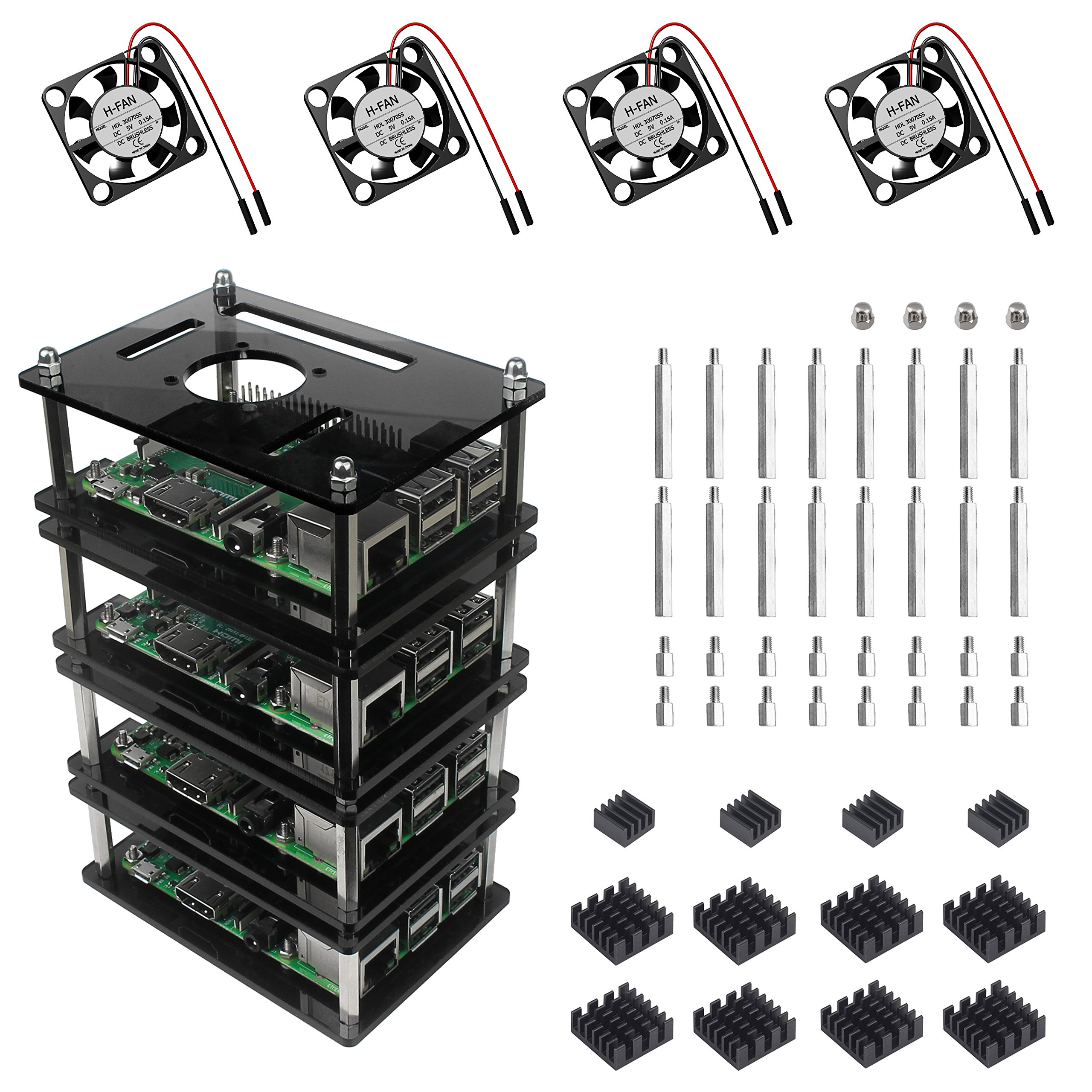 For raspberry pi 3 b+ case 4 layers acrylic stackable gray case with fan and heatsink for raspberry pi 3 model b