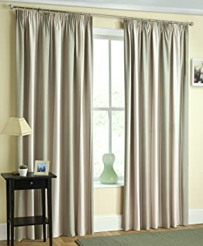 Green / Lime / Cream Blockout Striped Curtains 90