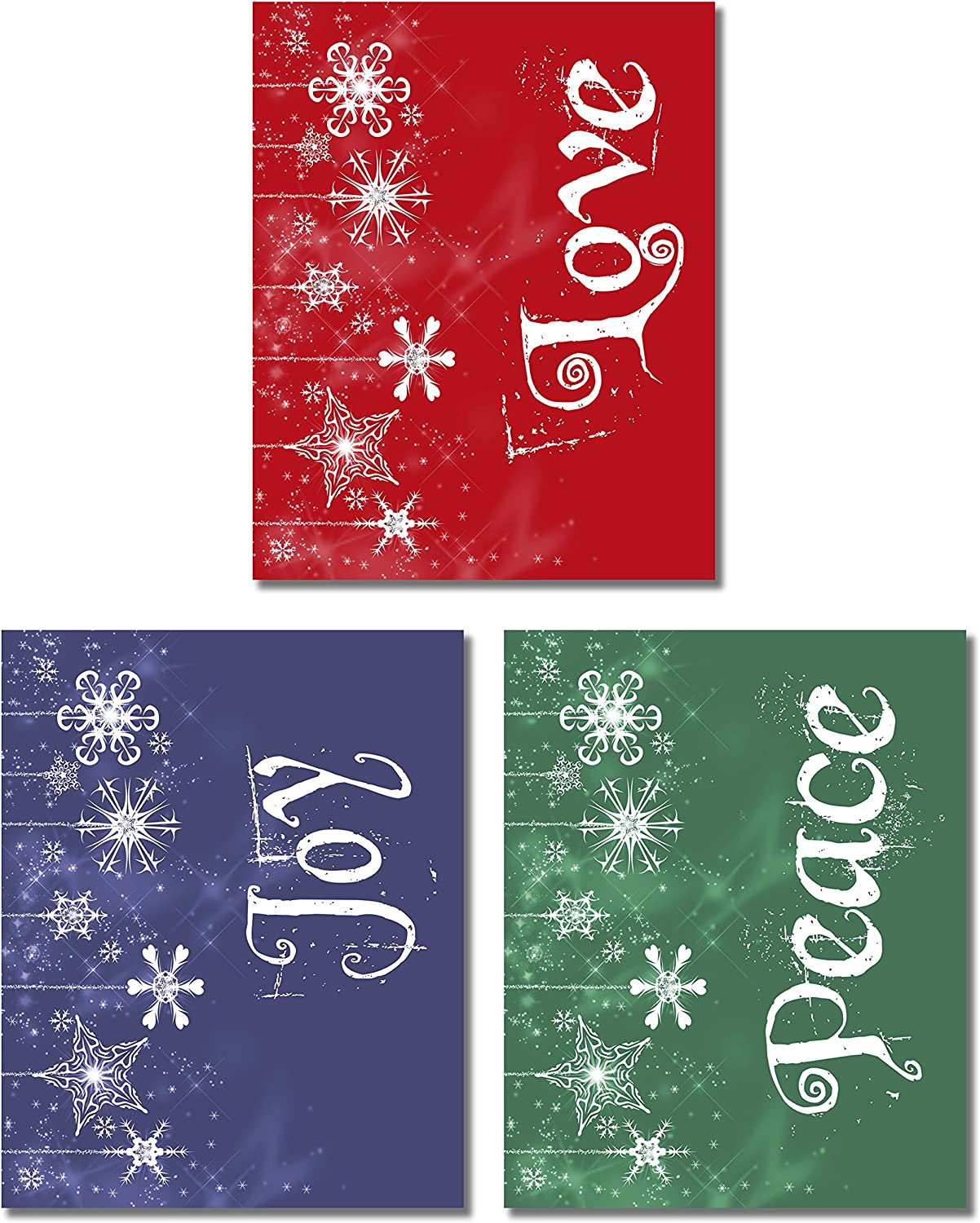 Peace Joy Love Wall Art Photos - Set of 3 (8 inches x 10 inches) Prints - Christmas Holiday Decor