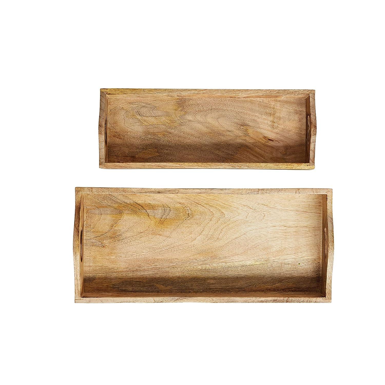 DA8046 Creative Co-Op Rectangle Mango Wood Trays Set of 2 Sizes
