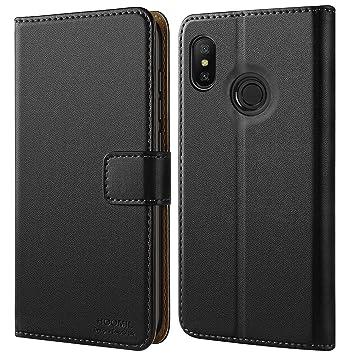 HOOMIL Cuero Premium Funda para Xiaomi Mi A2 Lite/Xiaomi Redmi 6 Pro Carcasa (Negro)