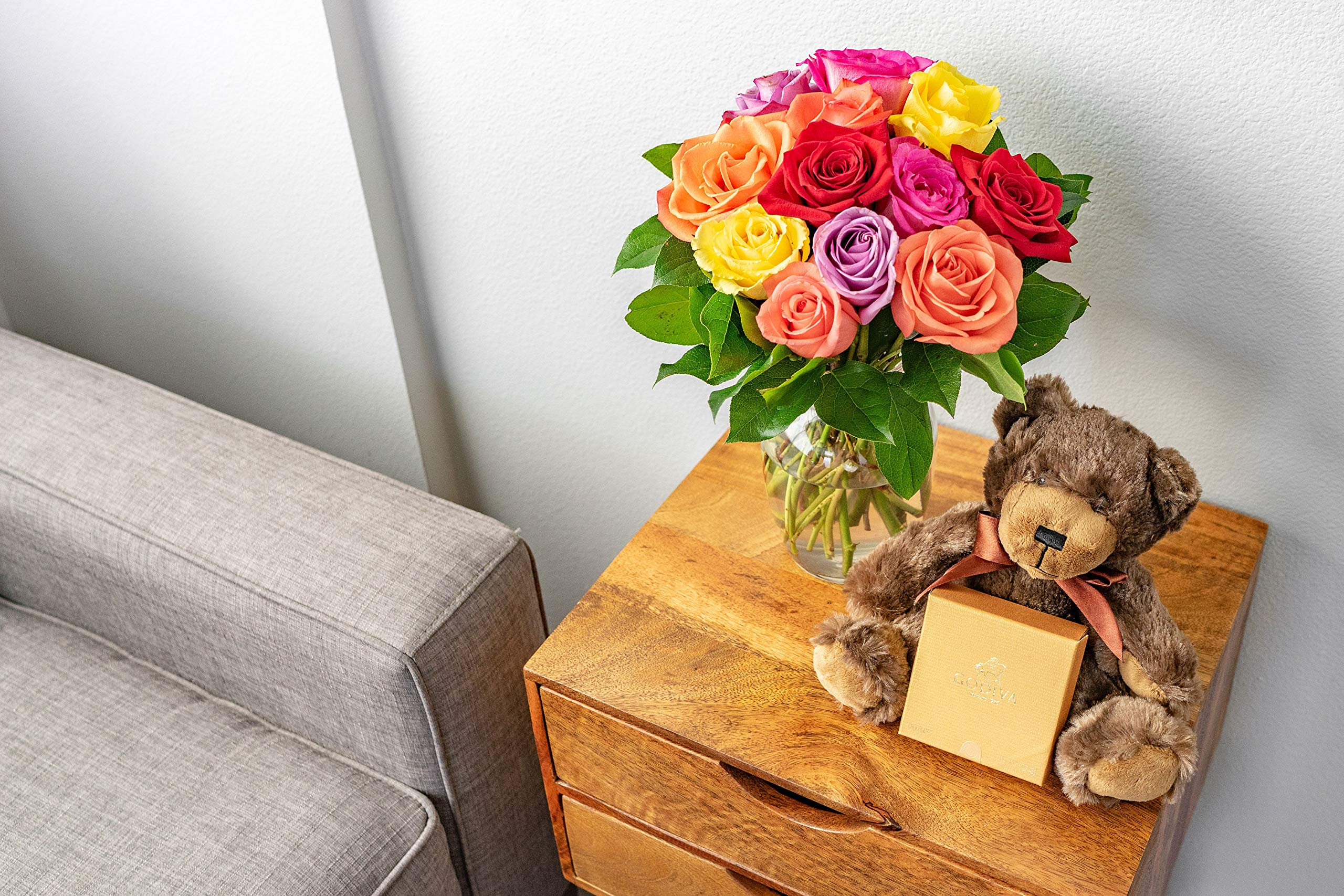 Flowers - One Dozen Rainbow Roses with Godiva & Bear (Free Vase Included) by From You Flowers