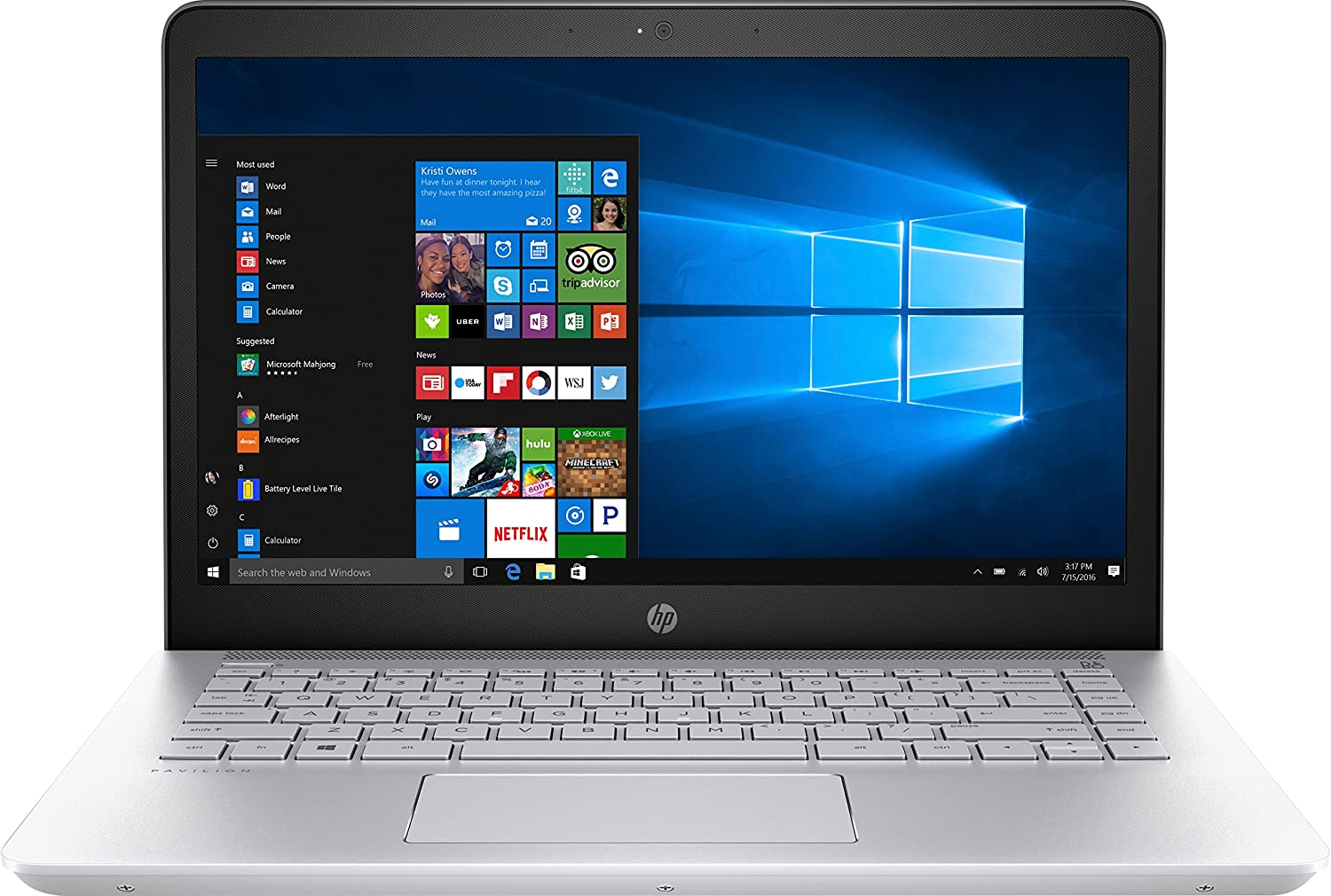 "HP 1KT95UA Pavilion Notebook Laptop (Windows 10, 7th Gen Intel Core i7-7500U Processor, 14"" (1920 x 1080) Full HD Display, SSD: 512 GB, RAM: 8 GB DDR4) Silver"