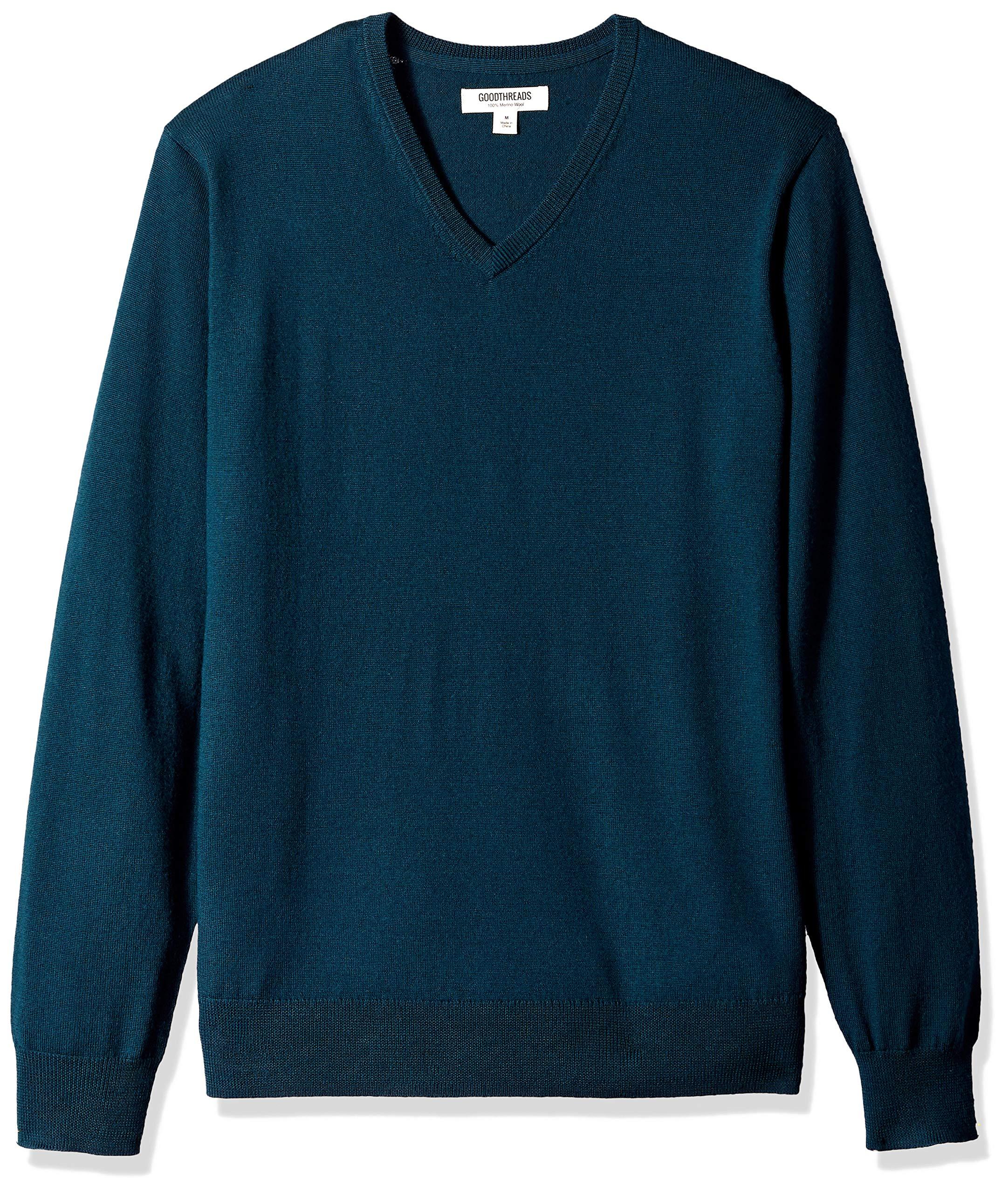 Goodthreads Men's Merino Wool V-Neck Sweater, deep Teal, Medium