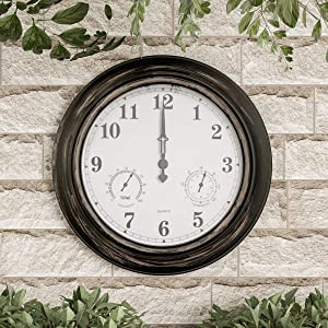 "Pure Garden Wall Thermometer-Indoor Outdoor Decorative 18"" Quartz Battery-Powered, Waterproof Clock, Temperature and Hygrometer Gauge, Bronze"
