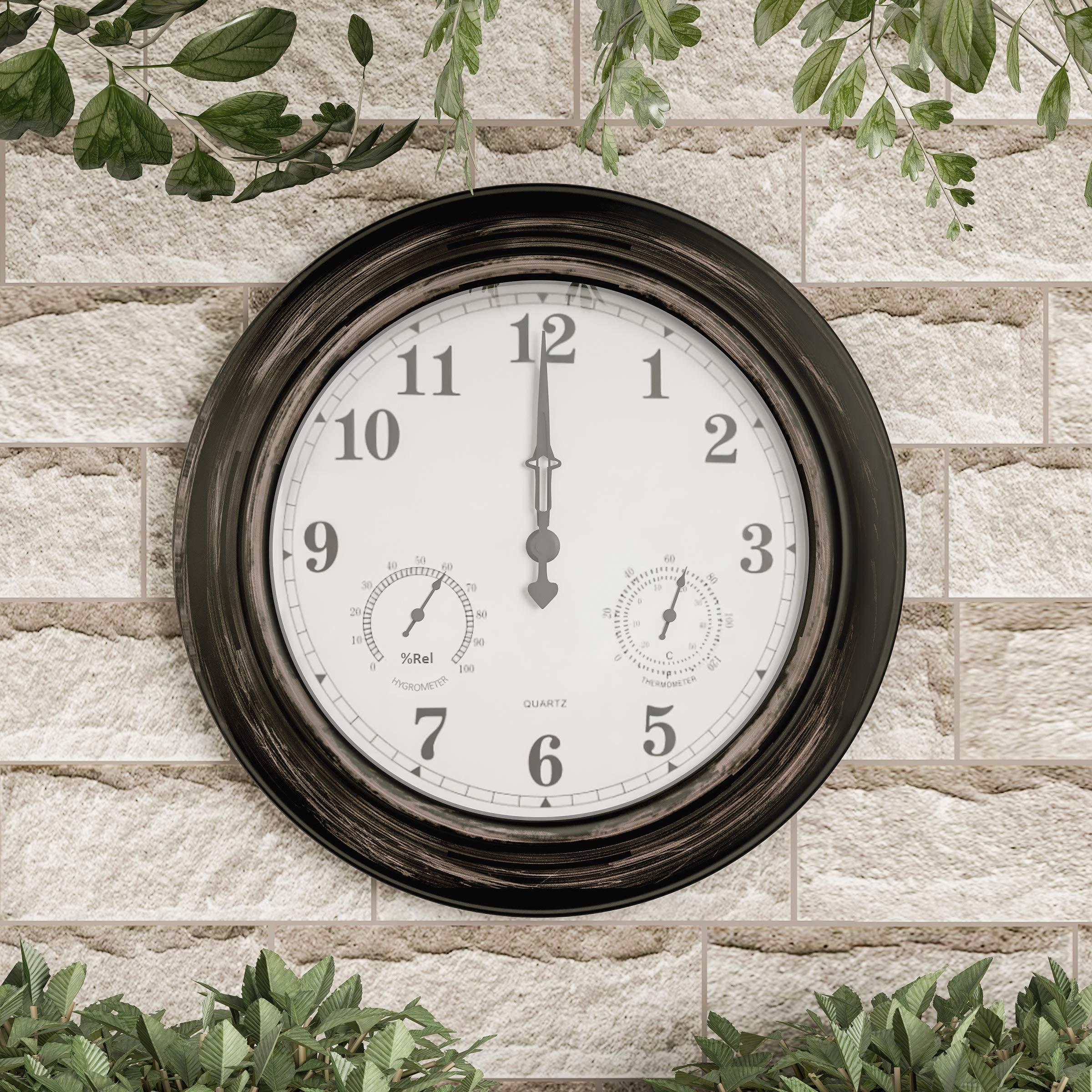 Pure Garden Wall Thermometer-Indoor Outdoor Decorative 18'' Quartz Battery-Powered, Waterproof Clock, Temperature and Hygrometer Gauge, Bronze