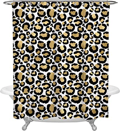 Cloth Fabric Bathroom Decor Set with Hooks Ambesonne Leopard Print Shower Curtain Skin Pattern of a Wild Safari Animal Powerful Panthera Big Cat 75 Long Brown Beige