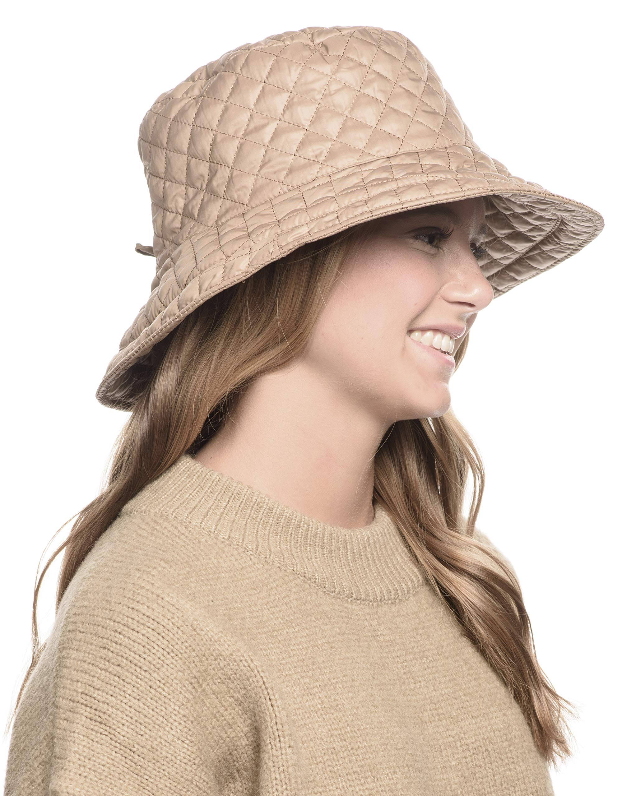 ANGELA & WILLIAM Foldable Water Repellent Quilted Rain Hat w/Adjustable Drawstring, Bucket Cap (A Khaki) by ANGELA & WILLIAM