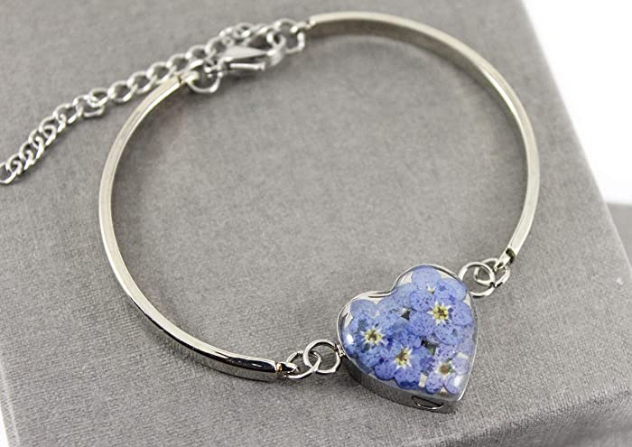 a73764a07 Stainless Steel Forget Me Not Myosotis Real Flower Heart Ladies Cremation  Memorial Urn Bangle Bracelet, Cremation Jewelry, Engravable Urn:  Amazon.co.uk: ...