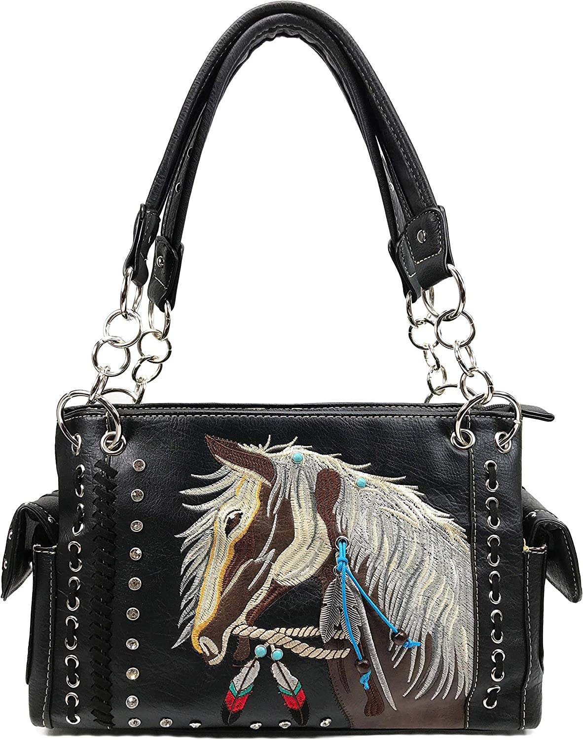 Zelris Dakota Dales Pony Horse Embroidery Mane Western Country Women Conceal Carry CCW Shoulder Handbag Purse
