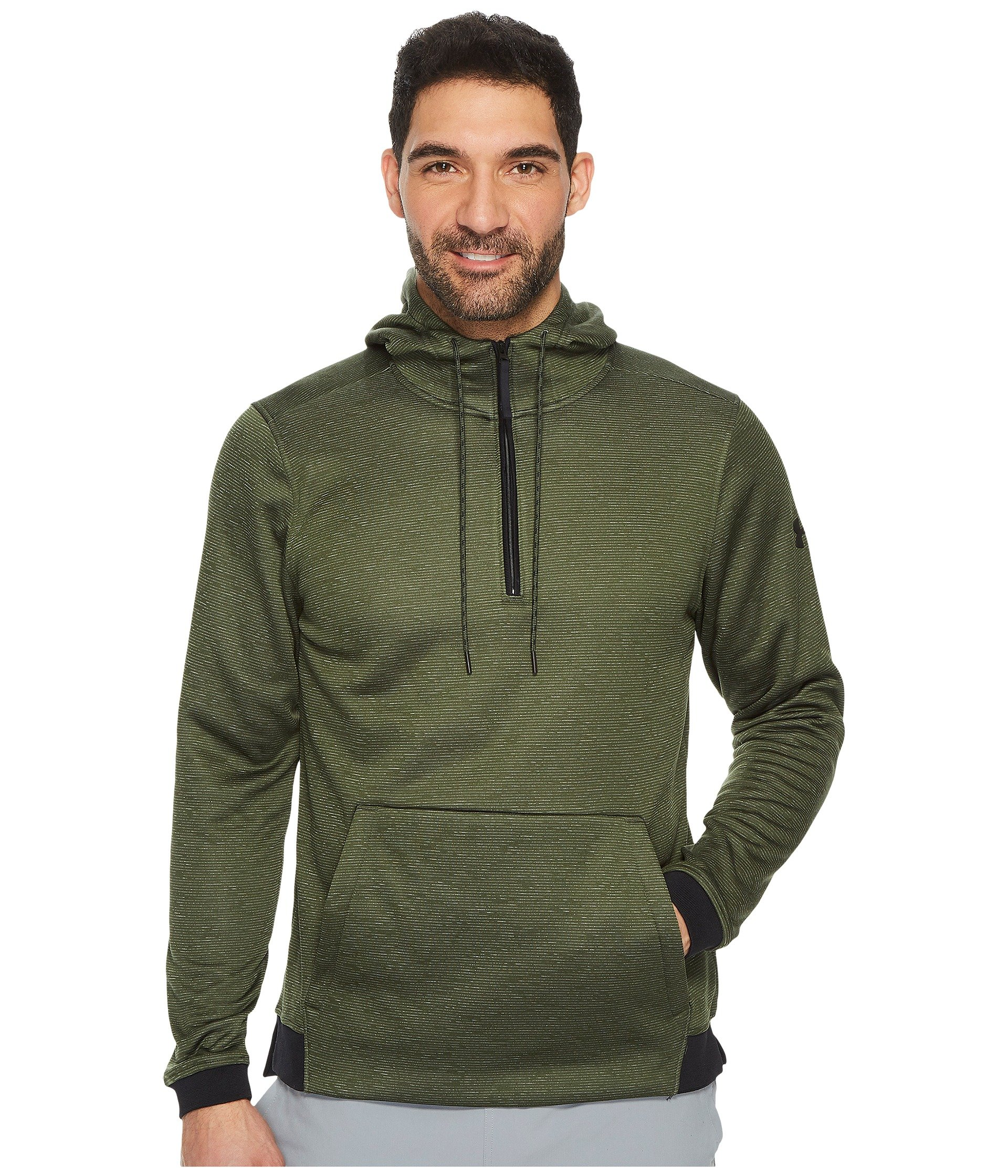 Under Armour Men's Fleece Icon 1/4 Zip PO Hoodie, Downtown Green, XS