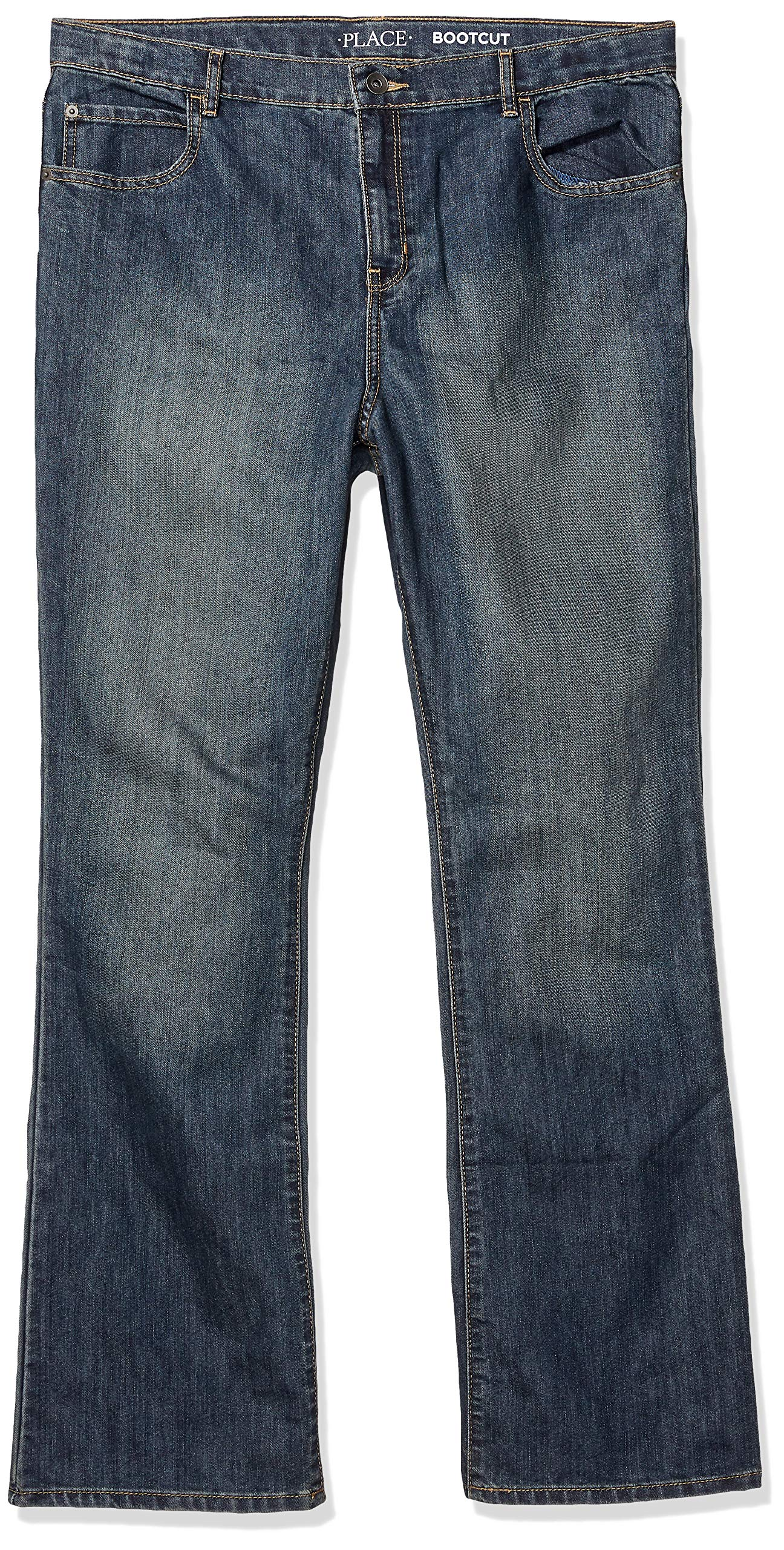 The Children's Place Big Boys' Bootcut Jeans, Dust Bowl, 18 Husky, DUSTBWLWSH, 18H