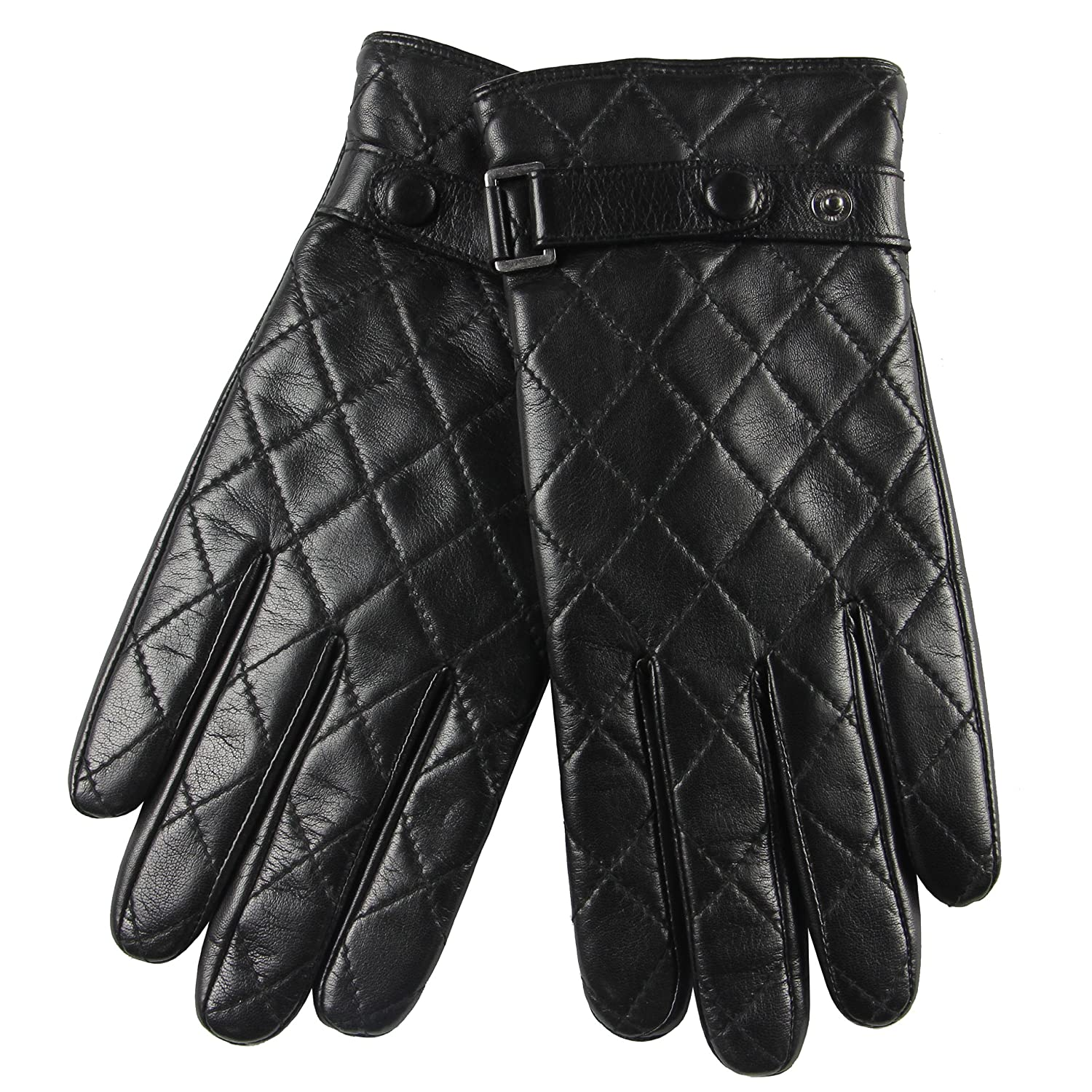 Mens gloves fashion - Warmen Fashion Men S Nappa Leather Gloves With Plaid Stitching Buckle Faster At Amazon Men S Clothing Store Cold Weather Gloves