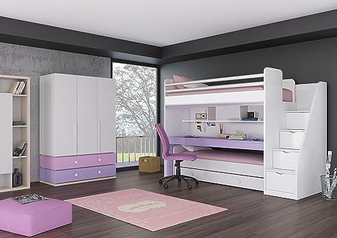 Kinder Jugendzimmer Komplett Hochbett Inkl. Regal Unterbett 3