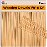StesoSHOP Wooden Dowel Rods - Thin Rod 12 inches - 1/8 Dowels - 50 pcs - Wood Dowels Crafts - Best Price - Wood Dowels for Wedding Ribbon Wands - 30cm-3mmØ