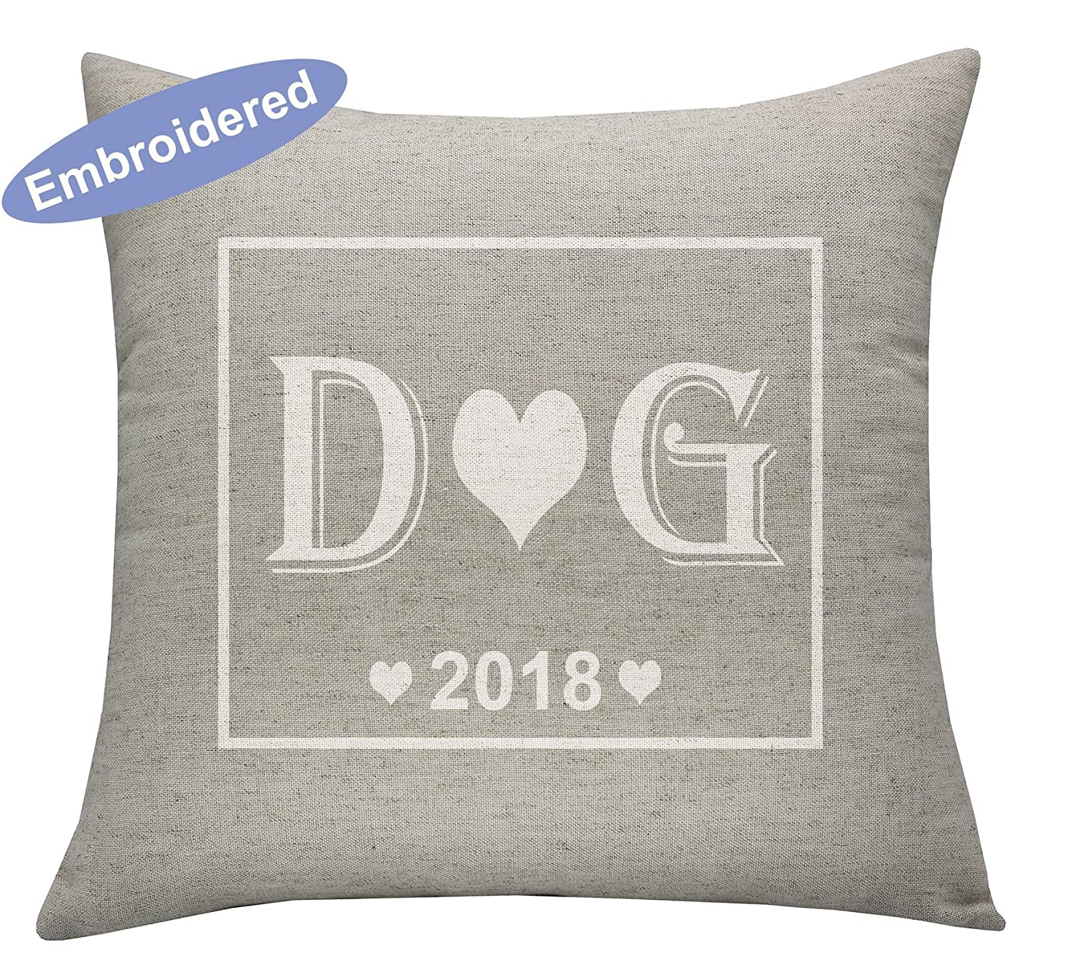 YugTex Cushion Cover Valentine gift, Couples Gift, 2nd anniversary Gift, romantic 2 year gift, initials, Cotton anniversary, gift for her, gift for him, Love Pillow Covers, Romantic Gifts, Couple Gifts