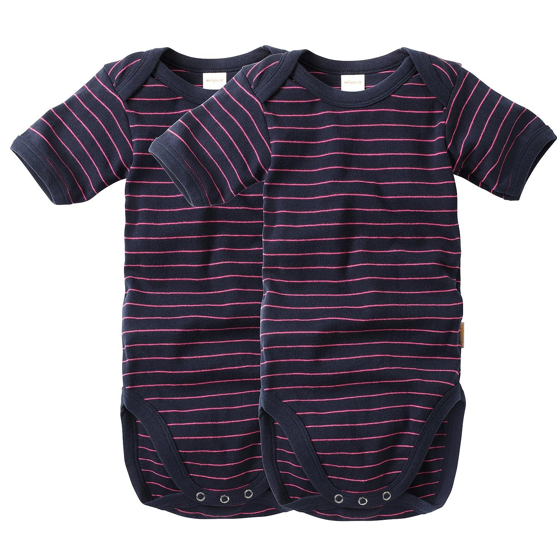 wellyou Baby und Kinder kurzarmbody//Baby-Body m/ädchen und Junge aus Baumwolle Kurzarm Body in Marine-Neongelb 2er Set