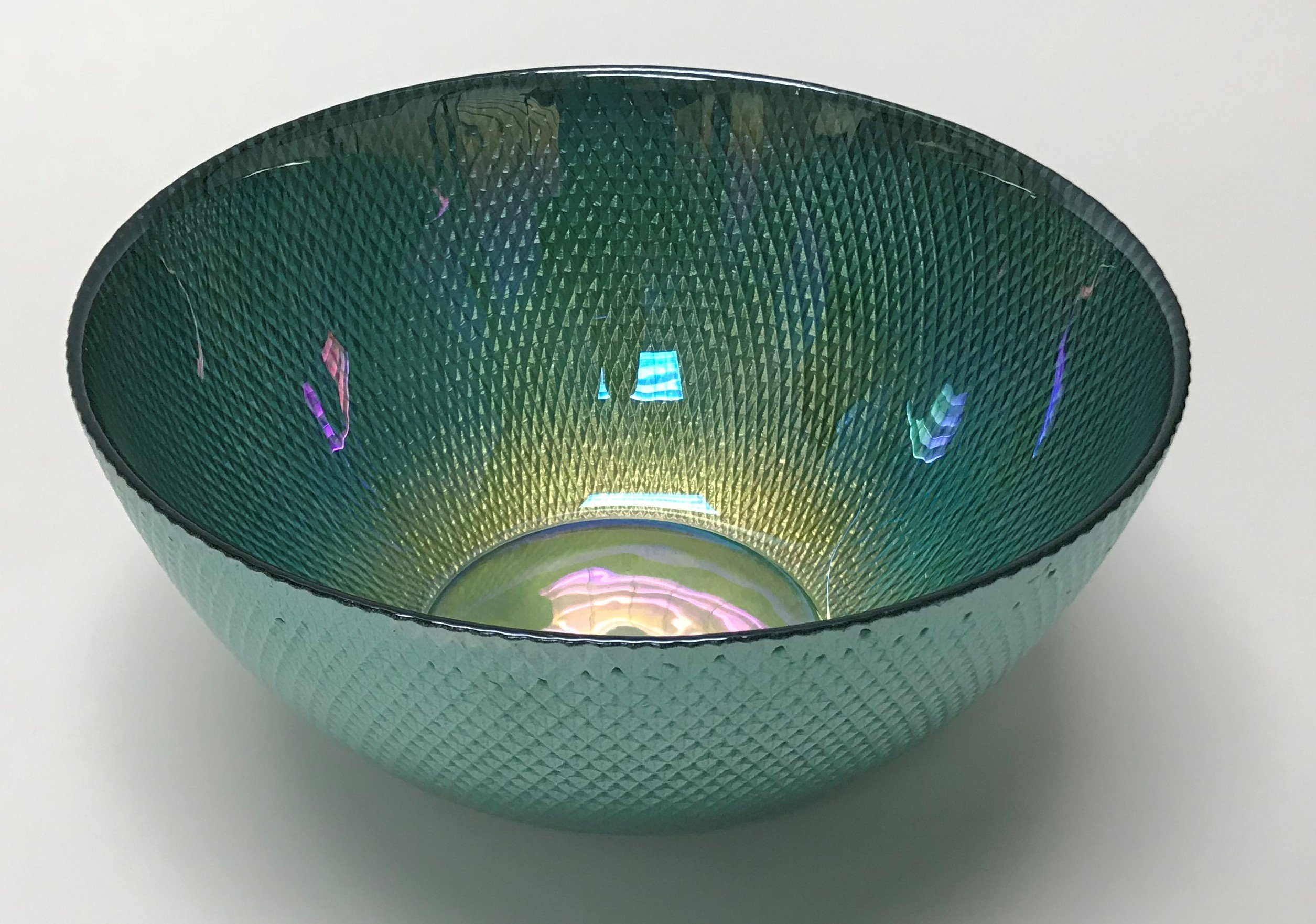 Circleware 03121 Radiance Glass Serving Mixing Fruit Bowl, Glassware for for Salad, Punch, Beverage, Ice Cream, Dessert, Food and Best Selling Home & Kitchen Decor Gifts, 10'', Teal Luster by Circleware (Image #1)