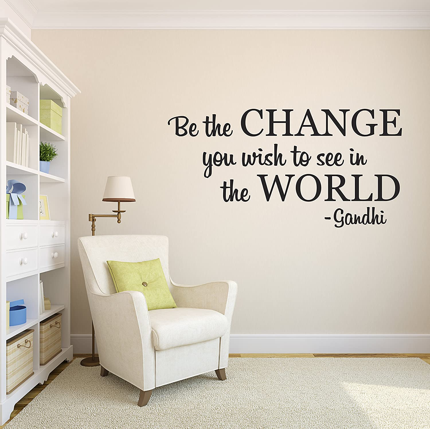 Be The Change You Wish To See In The World Gandhi Wall Quote Sayings Letters Decals Lettering Vinyl Sticker Sign Decor Baby