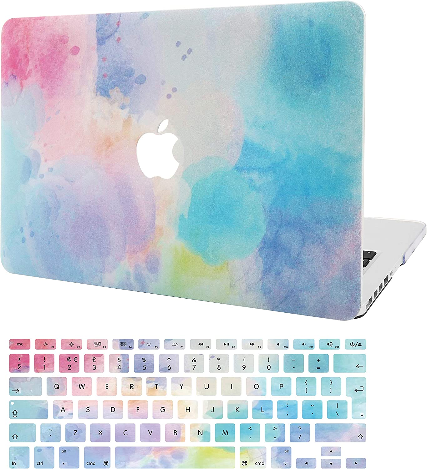 "KECC Laptop Case for MacBook Pro 13"" (2020/2019/2018/2017/2016) w/Keyboard Cover Plastic Hard Shell A2159/A1989/A1706/A1708 Touch Bar 2 in 1 Bundle (Rainbow Mist 2)"