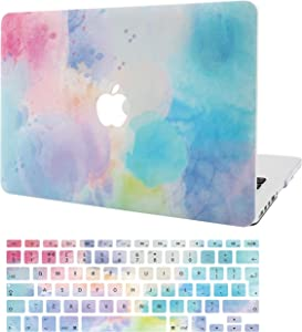 "KECC Laptop Case for MacBook Air 13"" w/Keyboard Cover Plastic Hard Shell Case A1466/A1369 2 in 1 Bundle (Rainbow Mist 2)"