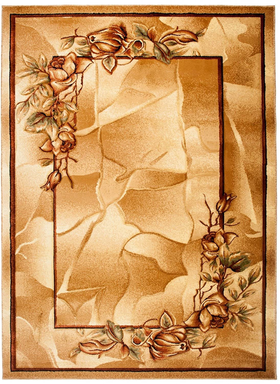 Carpeto Klassisch Teppich Dunkelbeige 190 x 270 cm Blumen Muster Antica Kollektion