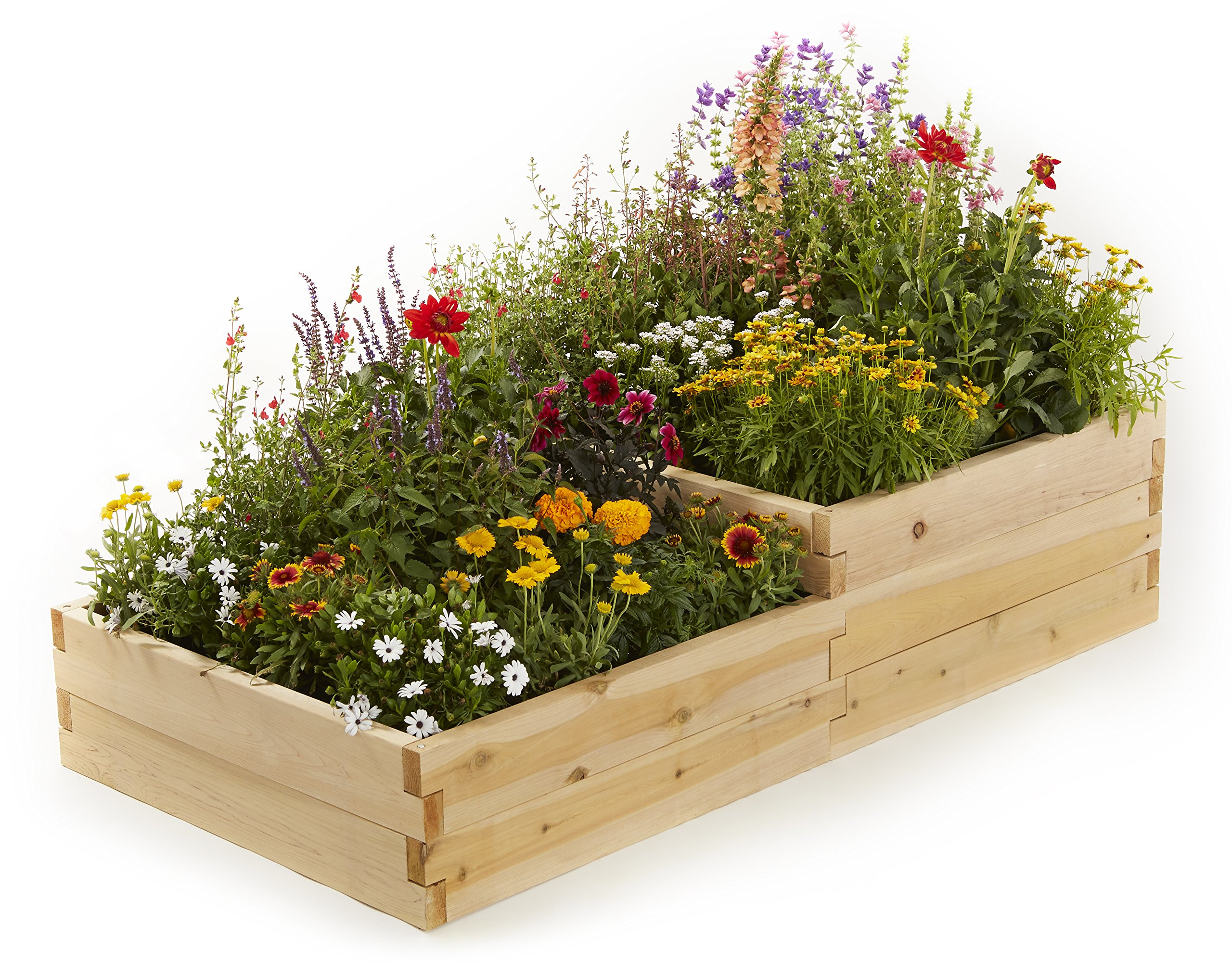 Naturalyards Raised Garden Bed, Multi-Level (Rustic Cedar, 2'x4'x16.5'')