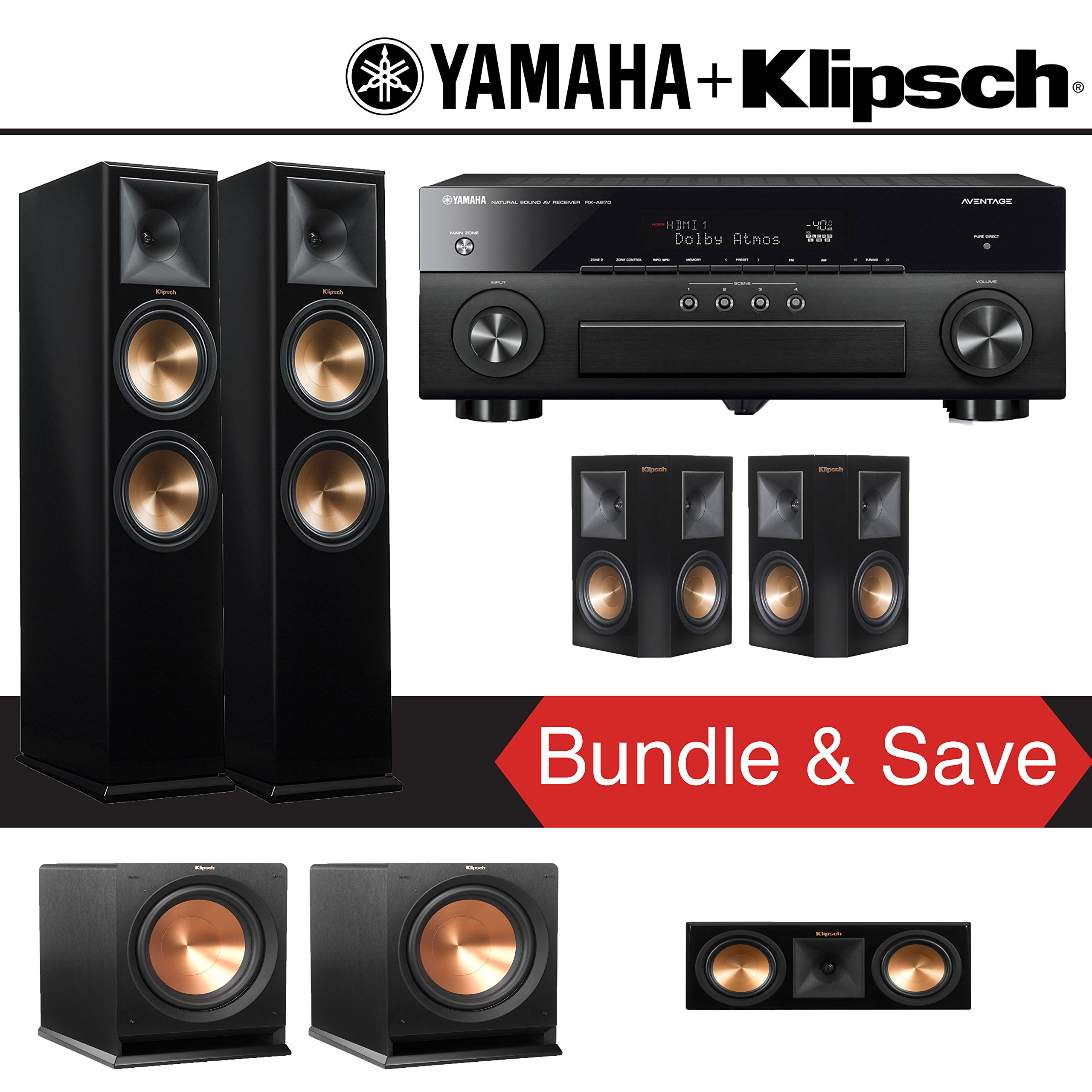 Klipsch RP-280F 5.2-Ch Reference Premiere Home Theater System (Piano Black) with Yamaha AVENTAGE RX-A870BL 7.2-Channel Network A/V Receiver by Klipsch