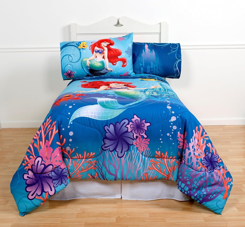 Disney\'s The Little Mermaid Twin Comforter & Sheet Set (4 Piece Girls  Bedding) K + BONUS HOMEMADE WAX MELT! …