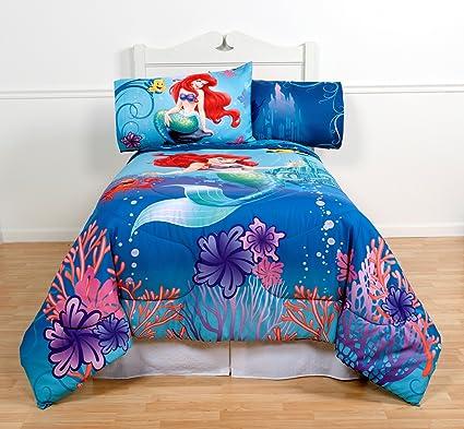 Disneyu0027s The Little Mermaid Full Comforter U0026 Sheet Set (5 Piece Girls  Bedding) K