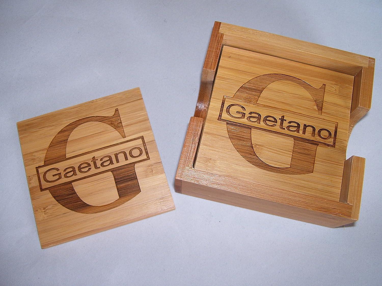 Personalized Laser Engraved Coaster Set For 4 Free Engraving Amazon Co Uk Kitchen Home