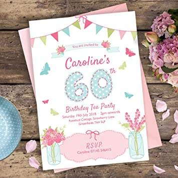 Garden party birthday invitations personalised for any age 21st garden party birthday invitations personalised for any age 21st 30th 40th 50th 60th 70th stopboris Choice Image