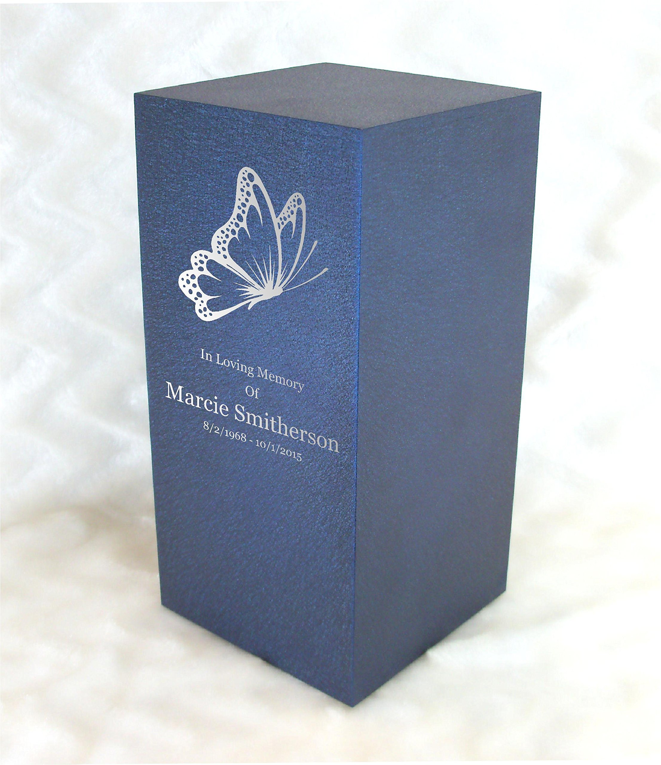 PERSONALIZED Engraved Butterfly Cremation Urn for Human Ashes - Made in America - Handcrafted in the USA by Amaranthine Urns, Adult Funeral Urn - Eaton DL (up to 200 lbs living weight) (Deep Sea Blue)