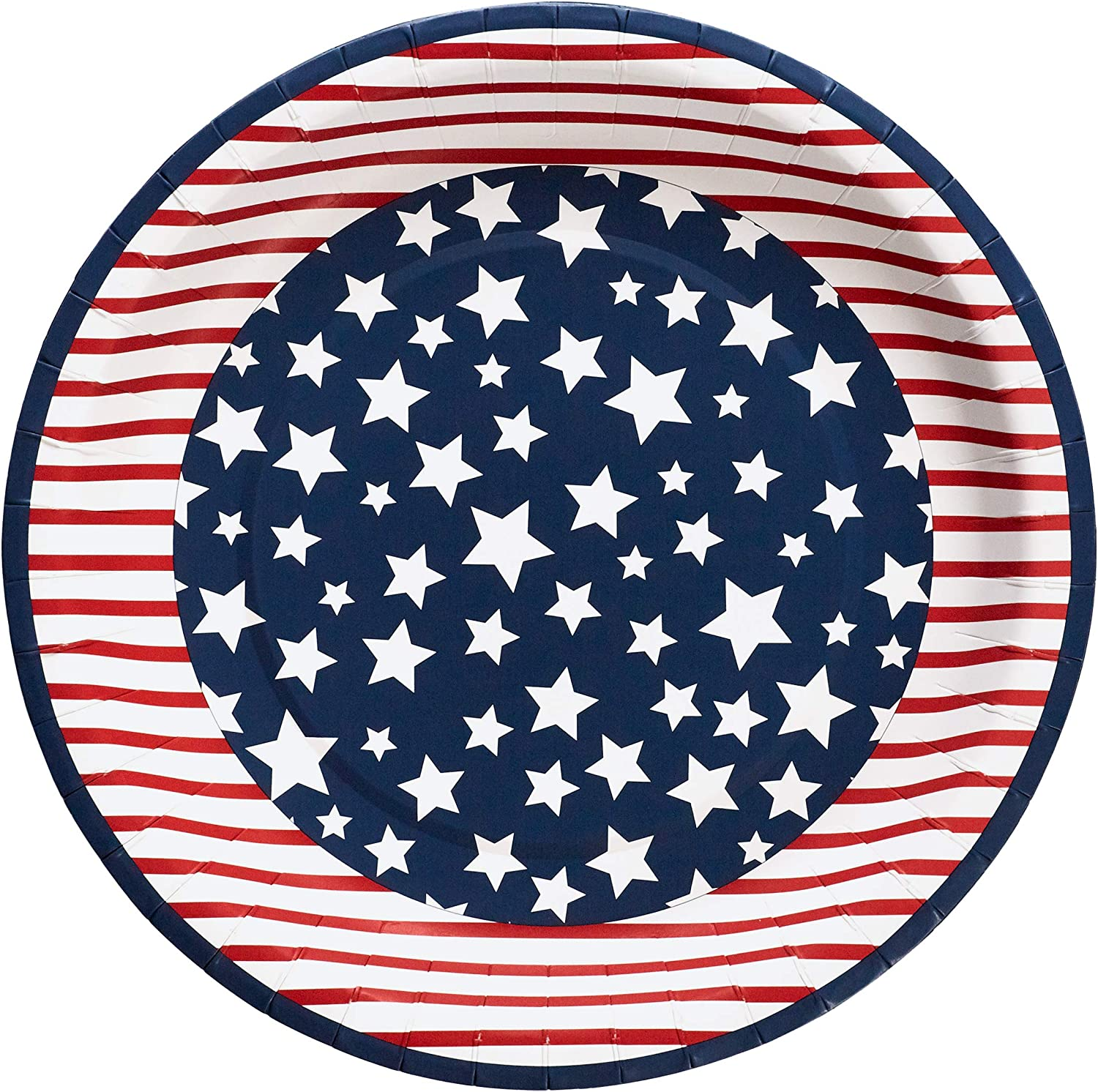 X&O Paper Goods X&O Paper Goods Red, White, and Blue American Flag Disposable Paper Dinner Plates, 8pc, 10.5