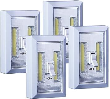 Lucia Lights - Luces de armario de 200 lúmenes para pasillo, baño, dormitorio, cocina, escaleras, armario, bajo armario y luces de emergencia, 4 unidades: Amazon.es: Bricolaje y herramientas