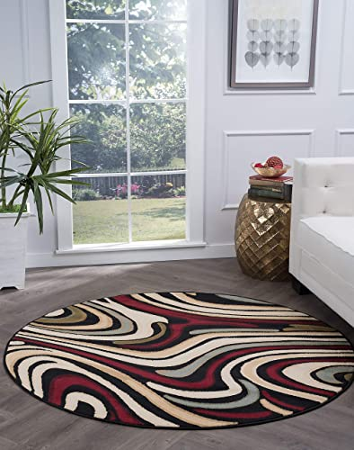 Tayse Riverside Black 8 Foot Round Area Rug
