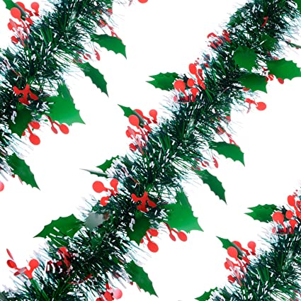 greendec christmas tinsel garland thick full tinsel sparkly artificial christmas garland christmas tree thanksgiving wedding party