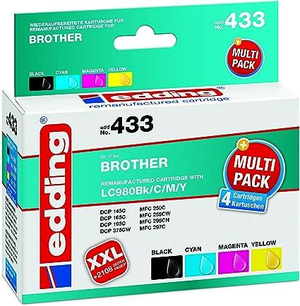 Edding Tintenpatrone Edd 433 Ersetzt Brother Lc980bk C M Y Multipack 4 Schwarz Cyan Magenta Gelb 1x 14ml 3x 9ml Bürobedarf Schreibwaren