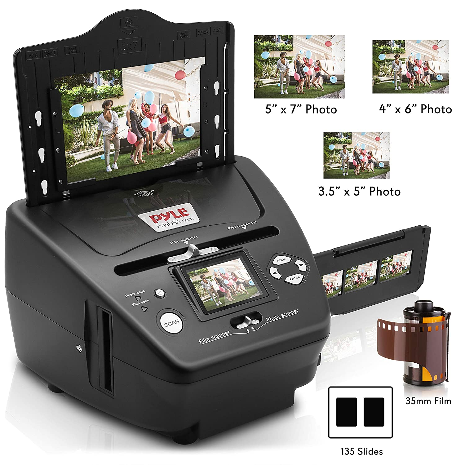 Digital 3-in-1 Photo, Slide and Film Scanner - Convert 35mm Film Negatives  & Slides - With HD 5 1 MP - Digital LCD Screen, Easy to Use
