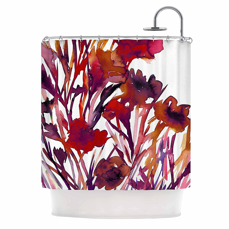 69 x 70 Shower Curtain Kess InHouse EBI Emporium Pocket Full of Posies Red Maroon Purple