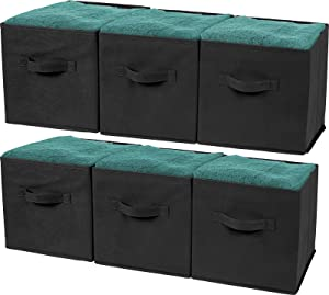 Greenco Foldable Storage Cubes Non-woven Fabric -6 Pack-(Black)