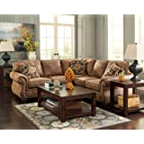 Ashley 31901-56-66 Larkinhurst Sectional Sofa with Right Arm Facing Loveseat and Left Arm Facing Sofa in Earth